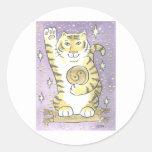 Tiger Luck Round Sticker