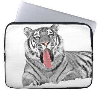 Tiger lying in snow and showing tongue laptop sleeve