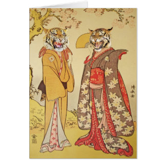 Tiger Man and Wife Japanese Print Couple Greeting Card