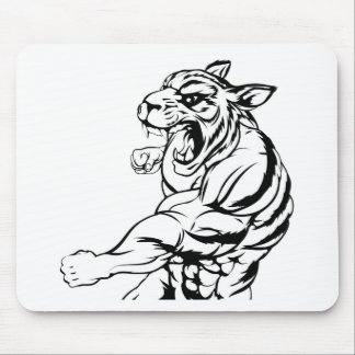 Tiger mascot fighting mouse pad