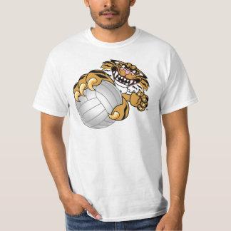 Tiger Mascot Playing Volleyball Shirt