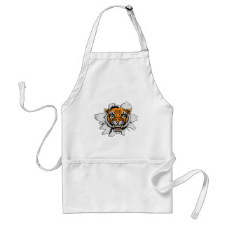 Tiger mascot ripping through adult apron
