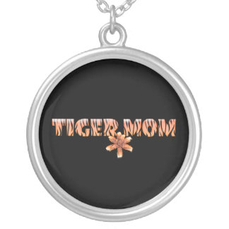 Tiger Mom with Tiger Lily Round Pendant Necklace