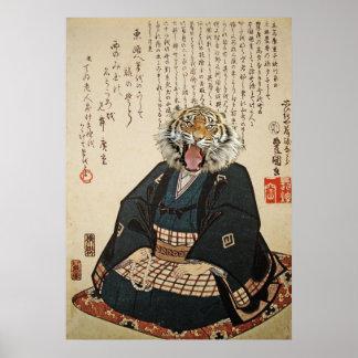 Tiger Monk Meditating Poster