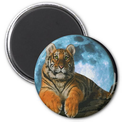 TIGER MOON 2 INCH ROUND MAGNET