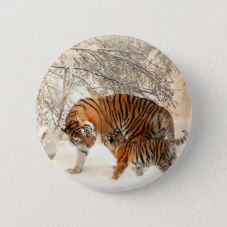Tiger Mother and baby Button