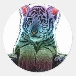 tiger multi colors classic round sticker
