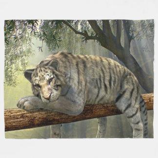 Tiger On A Branch Custom Fleece Blanket, Large