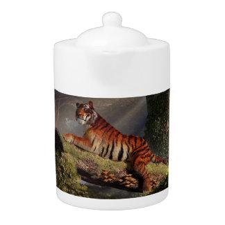 Tiger on a Log Teapot