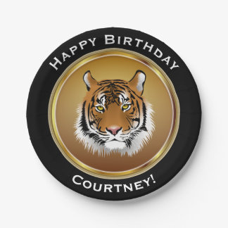 Tiger on Faux Gold Happy Birthday with Name Paper Plate