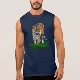 Tiger on Green T_shirt Sleeveless Tee