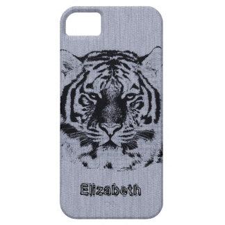 Tiger on Grey Wood Grain iPhone SE/5/5s Case