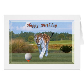 Tiger on the Golf Course Birthday Card
