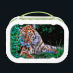 """Tiger on the green and blue grass lunch box<br><div class=""""desc"""">This beautiful Photoshop Bengal tiger looking at you with his big eye glowing and his electrified whiskers sitting in a forest with ears up.</div>"""
