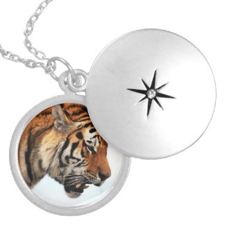 Tiger on the hunt silver plated necklace