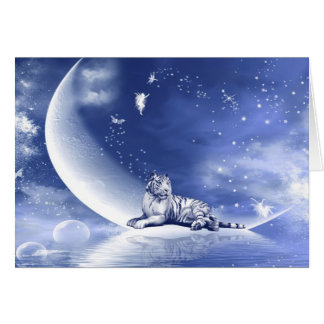 Tiger on the moon greeting cards