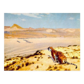Tiger on the Watch by Jean-Leon Gerome 1888 Postcard