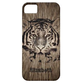 Tiger on Wood Grain 2 iPhone SE/5/5s Case
