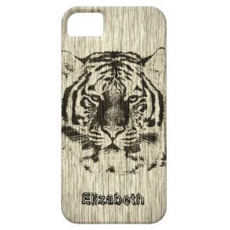 Tiger on Wood Grain iPhone SE/5/5s Case