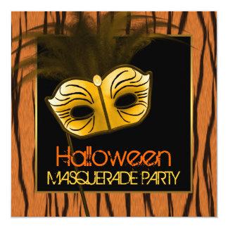 Tiger Orange Black Halloween Masquerade Party Card
