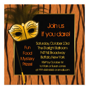 Tiger Orange Black Halloween Masquerade Party Personalized Announcement