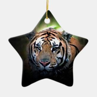 Tiger Double-Sided Star Ceramic Christmas Ornament