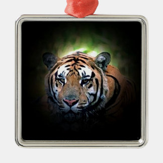 Tiger Square Metal Christmas Ornament