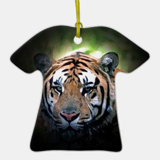 Tiger Double-Sided T-Shirt Ceramic Christmas Ornament