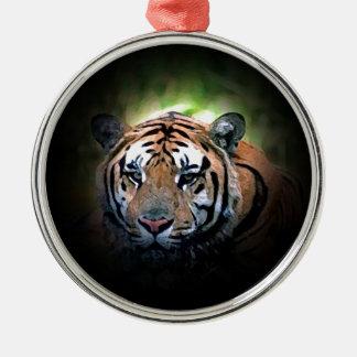 Tiger Round Metal Christmas Ornament