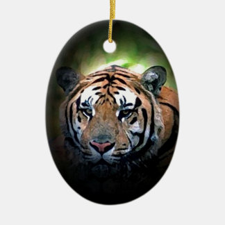 Tiger Double-Sided Oval Ceramic Christmas Ornament