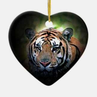 Tiger Double-Sided Heart Ceramic Christmas Ornament