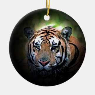 Tiger Double-Sided Ceramic Round Christmas Ornament