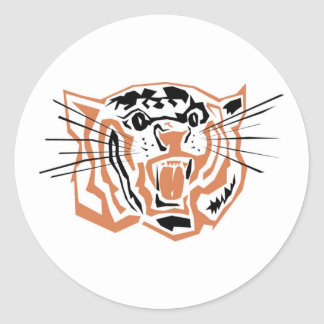 Tiger Outline Growling Round Sticker