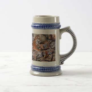 Tiger painting-tiger family-tiger cubs-tiger art beer stein