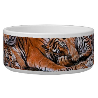 Tiger painting-tiger family-tiger cubs-tiger art bowl