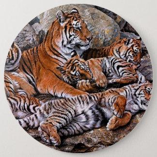 Tiger painting-tiger family-tiger cubs-tiger art button