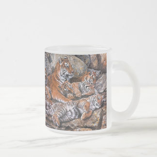 Tiger painting-tiger family-tiger cubs-tiger art frosted glass coffee mug