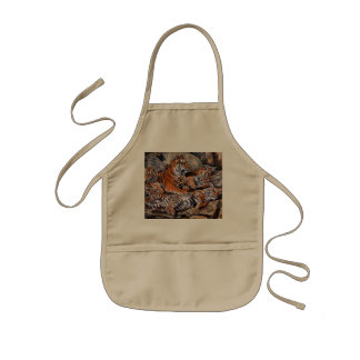 Tiger painting-tiger family-tiger cubs-tiger art kids' apron