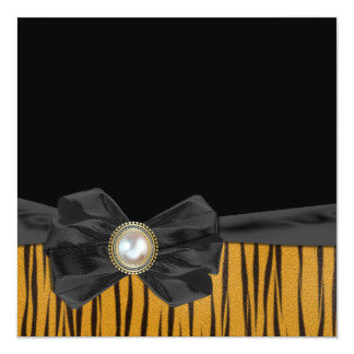 Tiger Pattern with Bow  Wedding Invitations