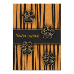 "Tiger Paw Child Birthday Party 5"" X 7"" Invitation Card"