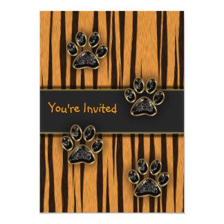 Tiger Paw Child Birthday Party 5x7 Paper Invitation Card