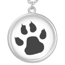TIGER PAW PRINT SILVER PLATED NECKLACE