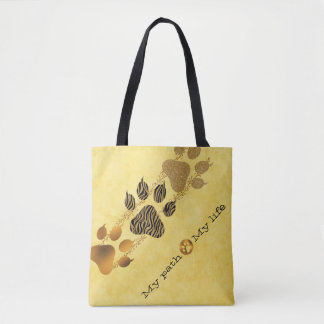 Tiger Paws My Path My Life Tote Bag