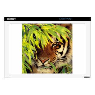 "Tiger Peers Behind A Leaf Decals For 17"" Laptops"