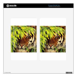 Tiger Peers Behind A Leaf Kindle Fire Skin