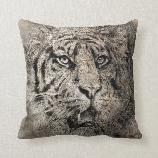 Tiger picture on the throw pillow