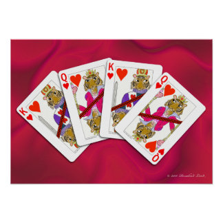 Tiger Playing Cards on Satin Poster