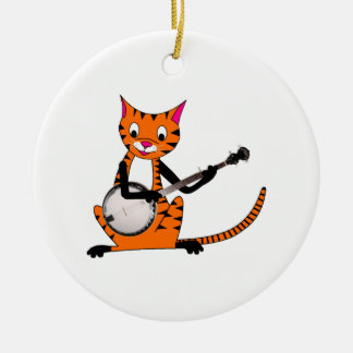 Tiger Playing the Banjo Double-Sided Ceramic Round Christmas Ornament