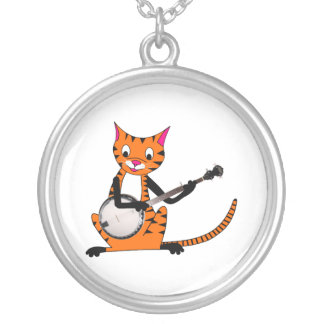 Tiger Playing the Banjo Round Pendant Necklace