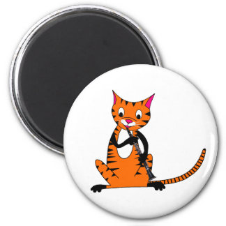 Tiger Playing the Clarinet Refrigerator Magnets